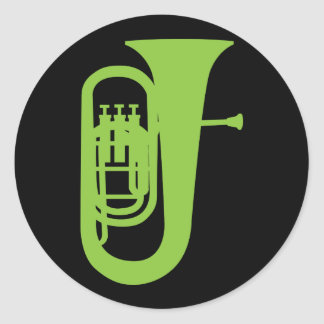 Fun Baritone Silhouette Music Gift Classic Round Sticker