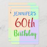 "[ Thumbnail: Fun, Basic ""60th Birthday"" Birthday Invitation ]"