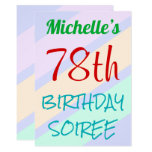 "[ Thumbnail: Fun, Basic ""78th Birthday Soiree"" Invitation ]"