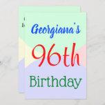 "[ Thumbnail: Fun, Basic ""96th Birthday"" Birthday Invitation ]"