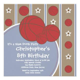 Fun Basketball Boys Birthday Party Invitations