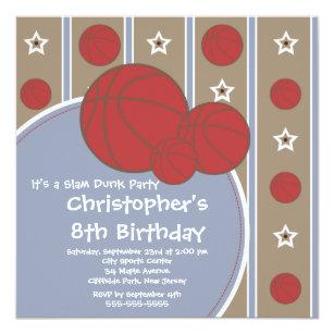 basketball hoop birthday invitations zazzle