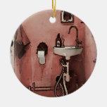 Fun Bathroom Double-Sided Ceramic Round Christmas Ornament