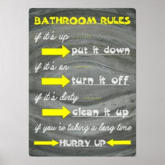 Fun Bathroom Rules Poster