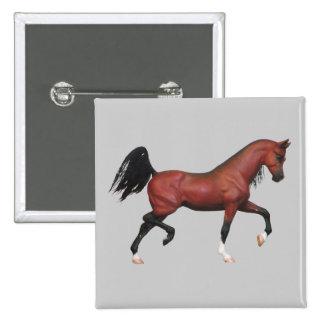 Fun Bay Stallion Horse Pony Lover Art Button Badge
