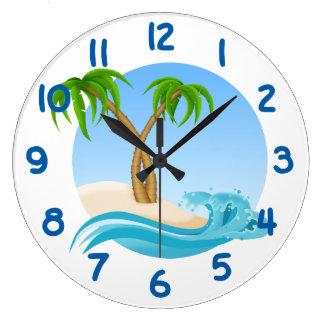 Fun Beach and Palm Trees Tropical Large Clock