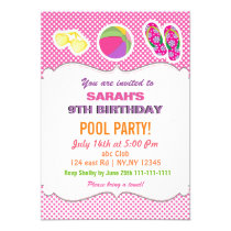 Fun Beach Ball flipflop girls Pool Party Invites