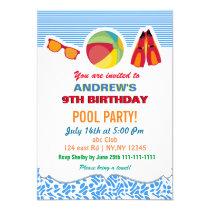 Fun Beach Ball Flippers Boys Pool Party Invitation