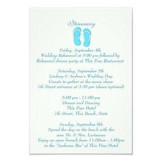 Fun Beach Flip Flops Blue Wedding Intinerary Card