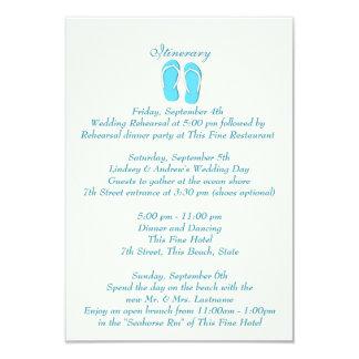 Fun Beach Flip Flops Blue Wedding Intinerary Card