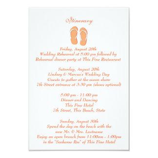 Fun Beach Flip Flops Orange Wedding Intinerary Card