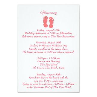 Fun Beach Flip Flops Pink Wedding Intinerary 3.5x5 Paper Invitation Card