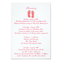 Fun Beach Flip Flops Pink Wedding Intinerary Card