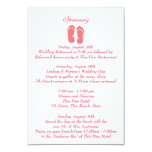 "Fun Beach Flip Flops Pink Wedding Intinerary 3.5"" X 5"" Invitation Card"