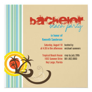 Fun Beach Holiday Bachelor Guys Party Invite Personalized Invitations
