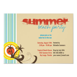 Fun Beach Holiday Palm Trees Summer Party Invite