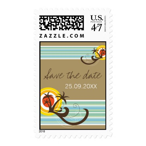 Fun Beach Holiday Save The Date Invitation Stamps