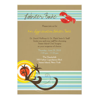 Fun Beach Holiday Summer Lobster Bake Party Invite Invites