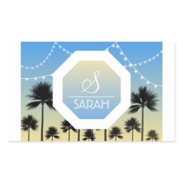 Beach Themed Fun Beach Personalized Monogram Sticker