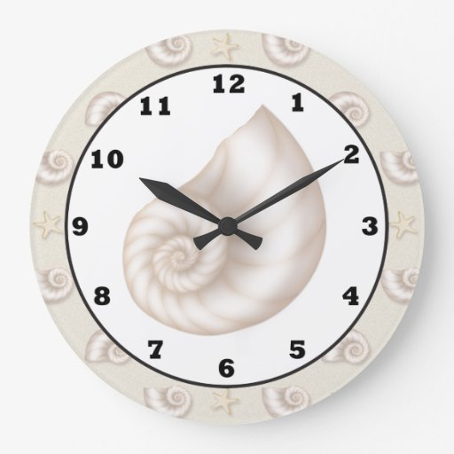Fun beach seashell pattern wall clock zazzle for Seashell wall clock