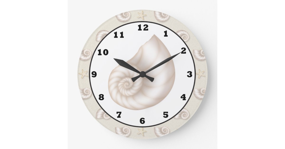 Fun beach seashell pattern wall clock zazzle for Seashell clock