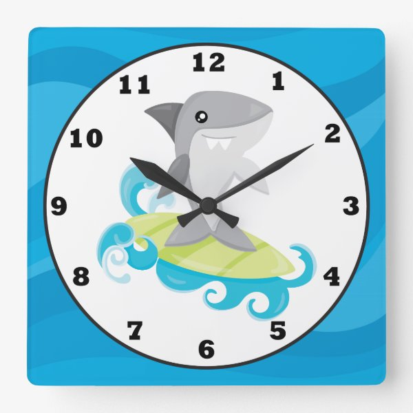 Fun Beach shark home decor wall clock