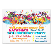Fun Beach  Stuff Beach Party Invitations