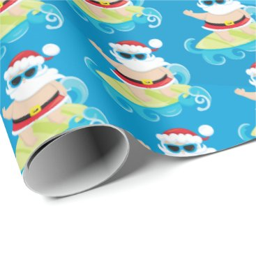 Beach Themed Fun beach surfing Christmas Santa wrap party Wrapping Paper