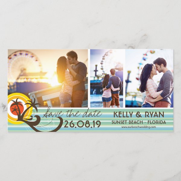 Fun Beach Tropical Sunset Palm Trees Save The Date