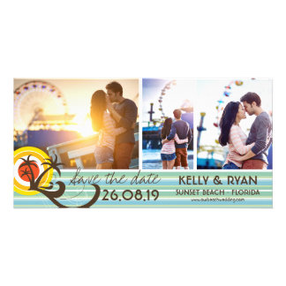 Fun Beach Tropical Sunset Palm Trees Save The Date Card