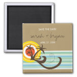 Fun Beach Tropical Sunset Palm Trees Save The Date Magnets