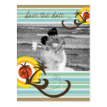 Fun Beach Tropical Sunset Palm Trees Save The Date Postcard