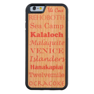 fun beaches list word art vacation summer - coral carved® cherry iPhone 6 bumper case