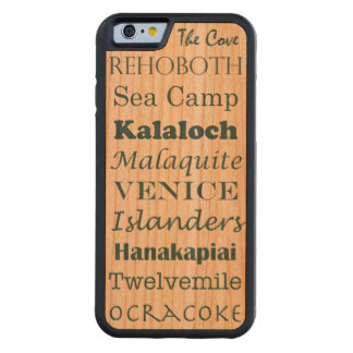 fun beaches list word art vacation summer - teal carved cherry iPhone 6 bumper case