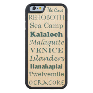 fun beaches list word art vacation summer - teal carved maple iPhone 6 bumper case