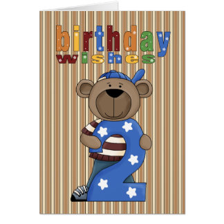 Fun Bear 2nd. Birthday Wishes Card
