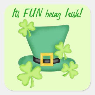 Fun Being Irish St. Patrick's Shamrock Custom Square Sticker