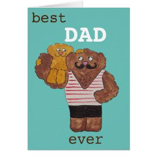 Fun Best Dad Ever Circus Strongman Daddy Bear Card