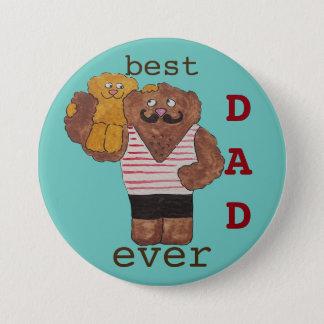 Fun Best Dad Ever Circus Strongman Daddy Bear Pinback Button