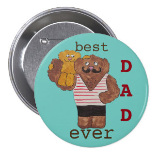 Fun Best Dad Ever Circus Strongman Daddy Bear Pinback Button