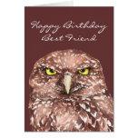 Fun Best Friend Getting Old Birthday Burrowing Owl Greeting Card