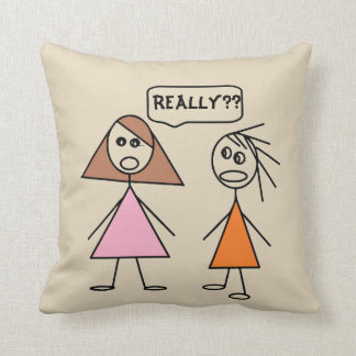 Fun Besties Stick Figure Girlfriends Gossiping Throw Pillow