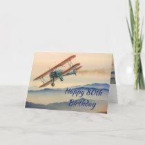 Fun Bi-Plane From One Vintage Model 80th Birthday Card