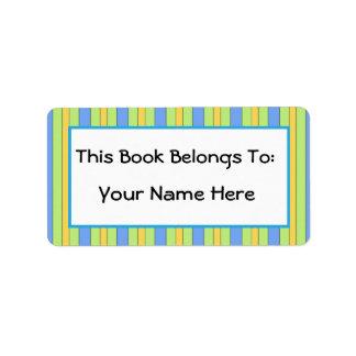 Fun Bibliophile Striped Bookplate Sticker Gift