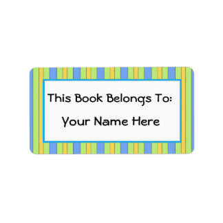 Fun Bibliophile Striped Bookplate Sticker Gift Label