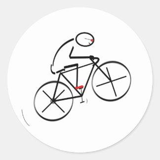 Fun Bicyclist Design Classic Round Sticker