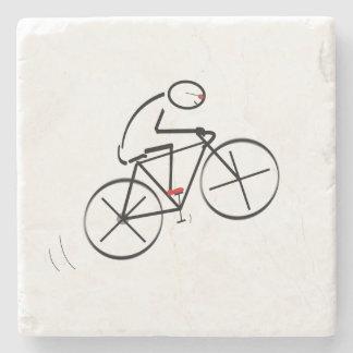 Fun Bicyclist Design Stone Coaster