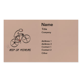 """Fun Bicyclist Design with """"Keep On Pedaling"""" text Business Card"""