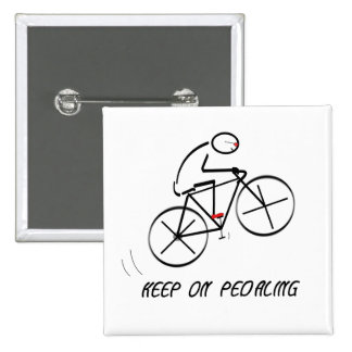 "Fun Bicyclist Design with ""Keep On Pedaling"" text 2 Inch Square Button"