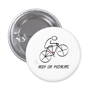 "Fun Bicyclist Design with ""Keep On Pedaling"" text 1 Inch Round Button"